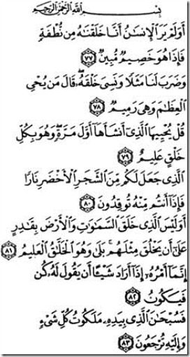 Last Verses of Surah Yaseen, meaning and interetation