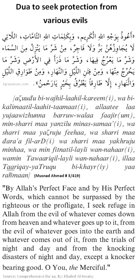 Dua to Allah to seek protection from various evils