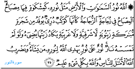 Quran surah 24 verse 35 Allah is the light