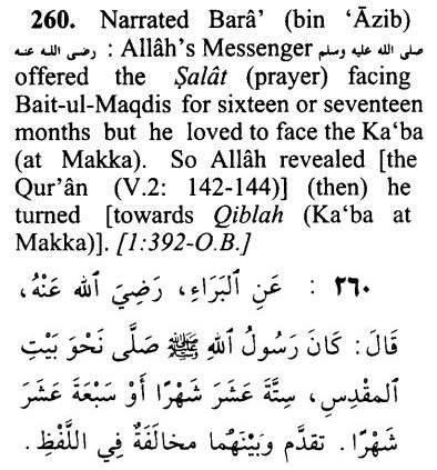 Qibla toward Bait-ul-Maqdis and Kaaba