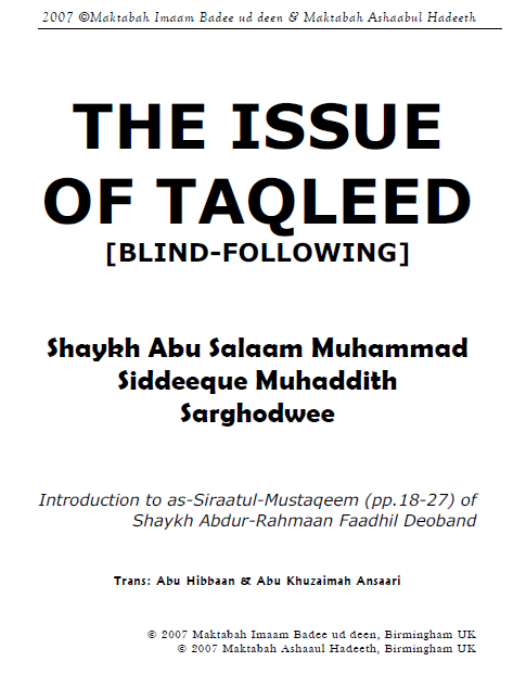 The issue of Taqleed