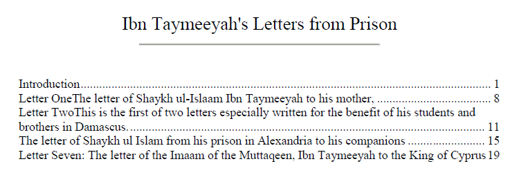 Ibn Taymeeyah Letters from the Prison