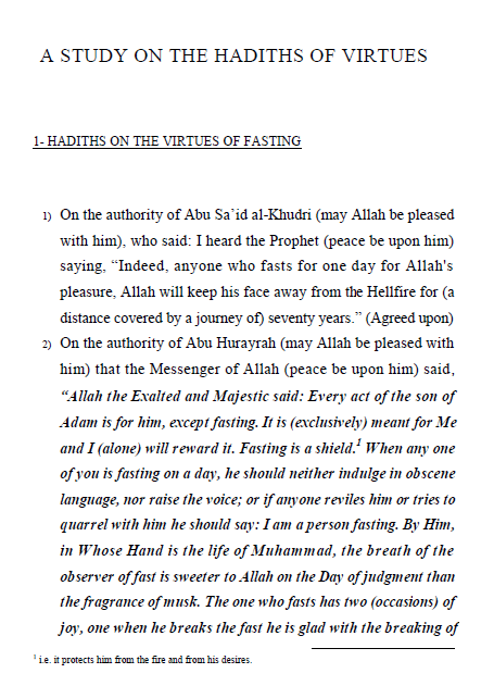 A Study on the Hadiths of Virtues