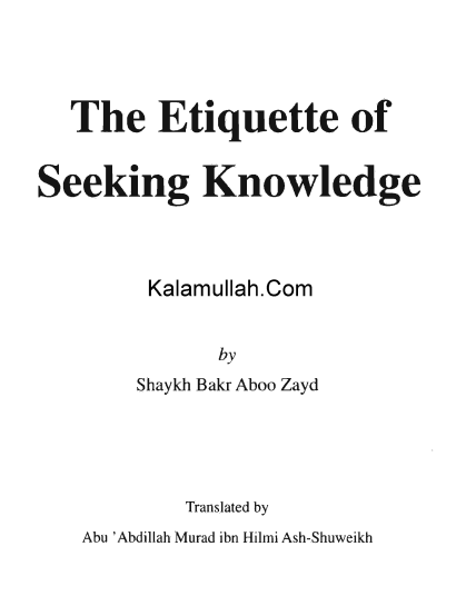Describes the best way to seek Islamic knowledge