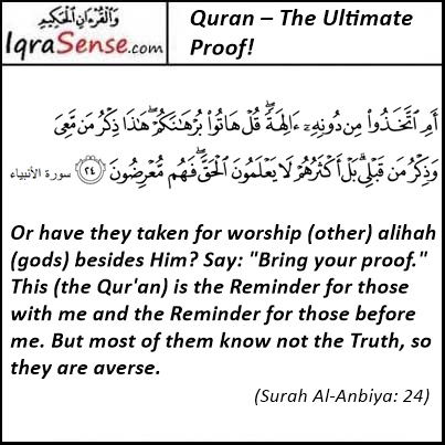 Surah Al- anbiya-24 - quran is the proof