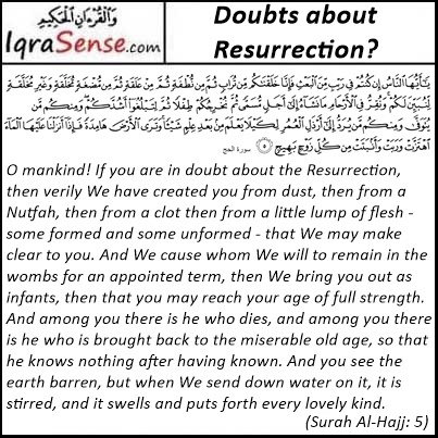 Doubt about Resurrection? - Surah Hajj Verse 5 Quran