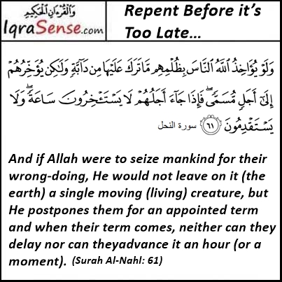 Surah Nahl Verse 61 Repent Before it's too late