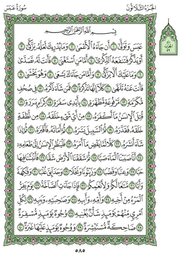 Surah Abasa Arabic English Translation