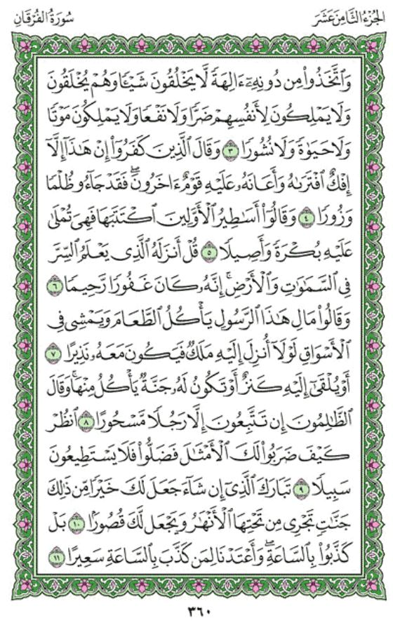 Surah Al-Furqan (Chapter 25) from Quran – Arabic English