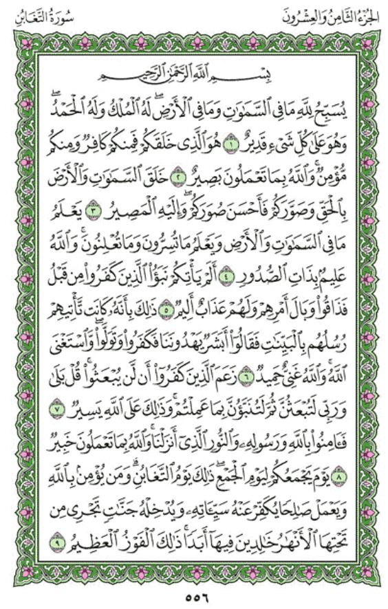 Surah Al-Taghabun Arabic English Translation
