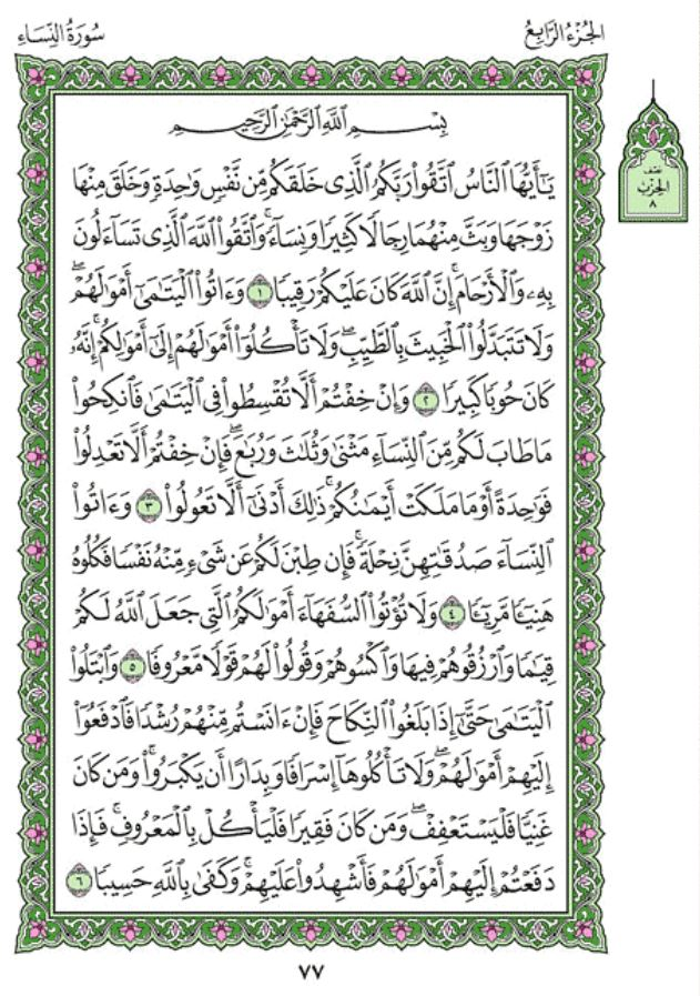 Surah An-Nisaa (Chapter 4) from Quran – Arabic English