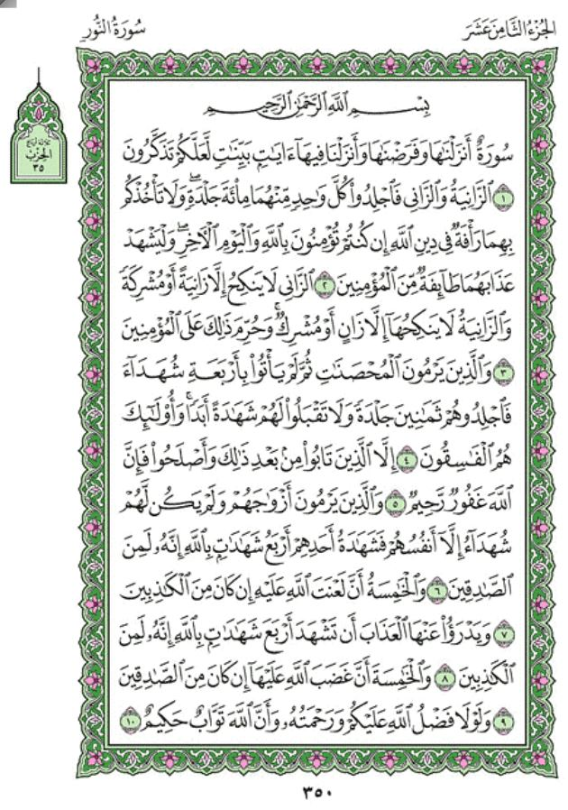 Surah An-Nur (Chapter 24) from Quran – Arabic English