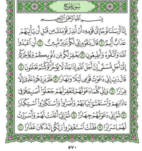 Surah Nuh Arabic English Translation