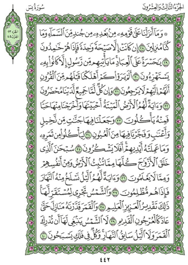 Surah Ya-Sin Arabic English Translation