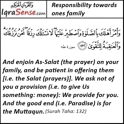 Responsibility Towards ones Family - Surah Taha Verse 132, Quran