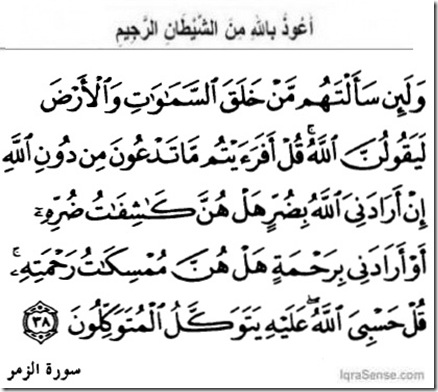 Surah Az-Zumr Verse 38 on Allah everyone trusts as He is the Lord