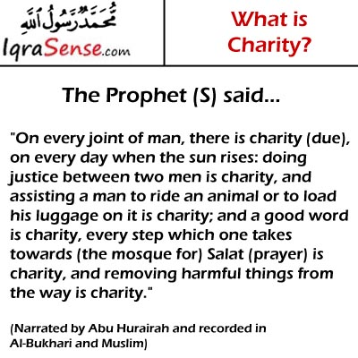 prophet hadith on charity