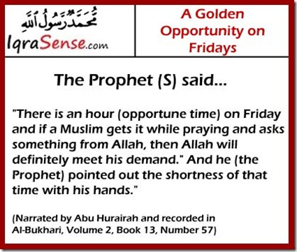 dua acceptance on friday hadith