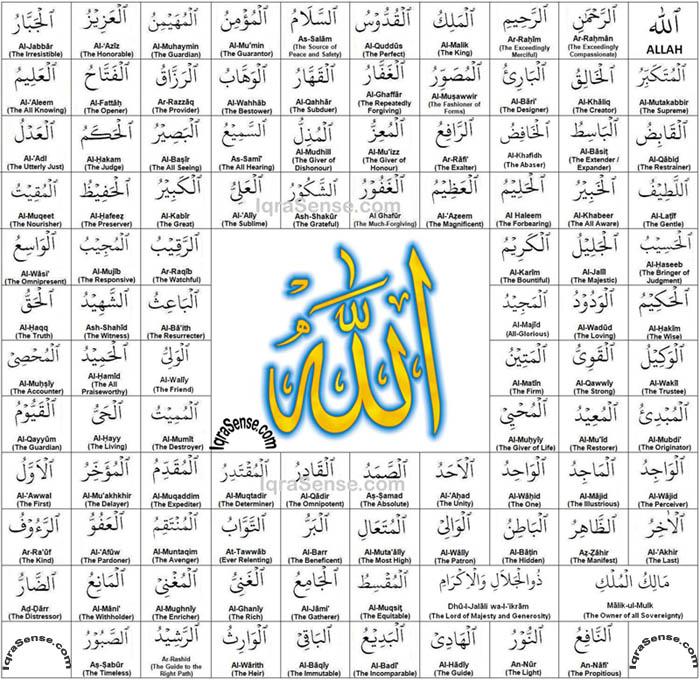 Allah's 99 Names - Arabic, Translation, and Quranic ...