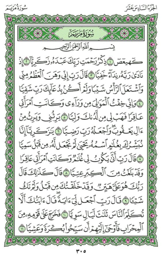 Surah Maryam (Mary Mother of Jesus) (Chapter 19) from ...